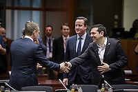 Pictured L-R: Donald Tusk, British Prime Minister David Cameron and Greek Prime Minister Alexis Tsipras Thursday 18 February 2016<br /> Re: David Cameron looks set to secure European Union deal on Britain's reforms during a summit in Brussels, Belgium.