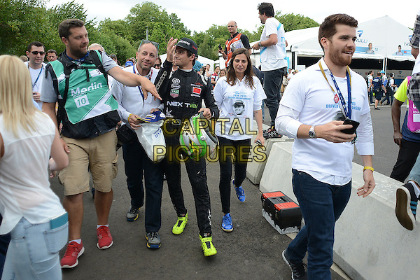 LONDON, ENGLAND - 28 JUNE ; Nelson Piquet Jr winner of The London Visa ePrix at Battersea Park, London, England 28th June 2015<br /> CAP/DYL<br /> &copy;Dylan/Capital Pictures