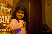 Safina playing with lightsticks hallway Grantham Road Birmingham
