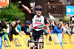 Dan Martin (IRL) UAE-Team Emirates attacks with 3km to the finish and wins Stage 5 of the 2018 Criterium du Dauphine 2018 running 130km from Grenoble to Valmorel, France. 8th June 2018.<br /> Picture: ASO/Alex Broadway | Cyclefile<br /> <br /> <br /> All photos usage must carry mandatory copyright credit (© Cyclefile | ASO/Alex Broadway)