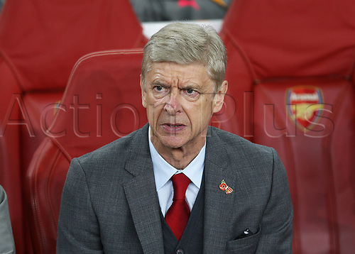 2nd November 2017, Emirates Stadium, London, England; UEFA Europa League group stage, Arsenal versus Red Star Belgrade; Arsenal manager Arsene Wenger looks inform the dugout before kick off