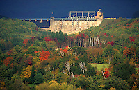 Comerford dam and hydroelectric plant on the Connecticut River. Monroe, New Hampshire.