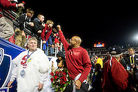 STANFORD, CA-NOVEMBER 30, 2012 - David Shaw celebrates with the crowd after winning the PAC-12 Championship at Stanford Stadium. The Stanford Cardinal advances to the Rose Bowl with a 27-24 win.