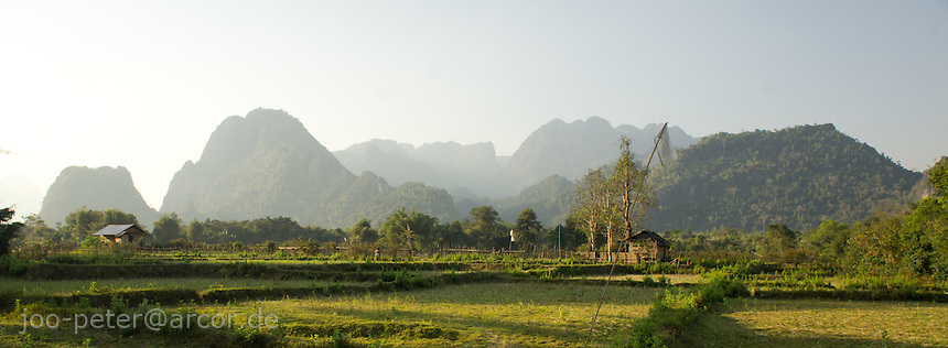landscape with mountains close to Vang Vieng, Laos, 2012
