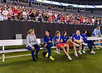 CHARLOTTE, NC - OCTOBER 3: Jill Ellis of the United States talks with Ali Krieger #11 during a game between Korea Republic and USWNT at Bank of America Stadium on October 3, 2019 in Charlotte, North Carolina.
