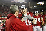 Matt Lepay interviews Wisconsin Badgers defensive lineman Patrick Butrym (95) during the Big Ten Conference Leaders Division Trophy presentation after an NCAA Big Ten Conference college football game against the Penn State Nittany Lions on November 26, 2011 in Madison, Wisconsin. The Badgers won 45-7. (Photo by David Stluka)