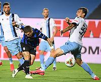 24th June 2020, Bergamo, Italy; Seria A football league, Atalanta versus Lazio;  Lazios Francesco Acerbi challenges Atalantas Alejandro Gomez