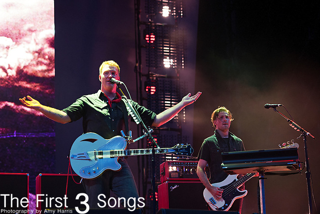 Queens of the Stone Age perform during the 2013 Budweiser Made in America Festival in Philadelphia, Pennsylvania.