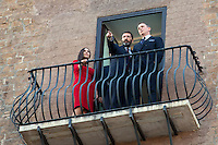 Monica Bellucci, Rome's Mayor Ignazio Marino e Daniel Craig<br /> Roma 18-02-2015 Campidoglio. In occasione del'inizio delle riprese del nuovo 007 a Roma, visita dei due attori al Campidoglio.<br /> Due to the new dil of James Bond, 007, that will be set in Rome, actors Daniel Craig and Monica Bellucci visit the Campidoglio<br /> Photo Samantha Zucchi Insidefoto