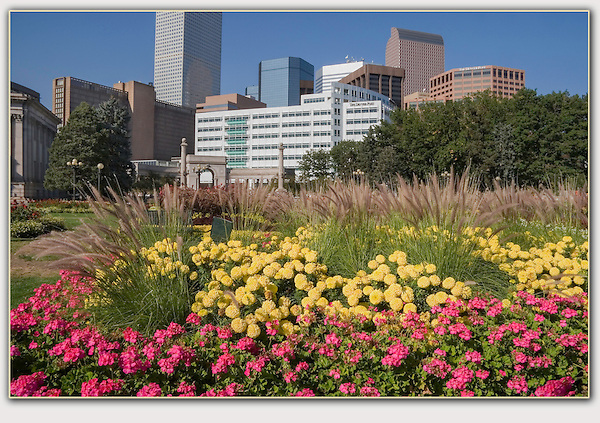 "Denver skyline from Civic Center Park. From John's 5th book: ""Denver Colorado: A Photographic Portrait.""<br />