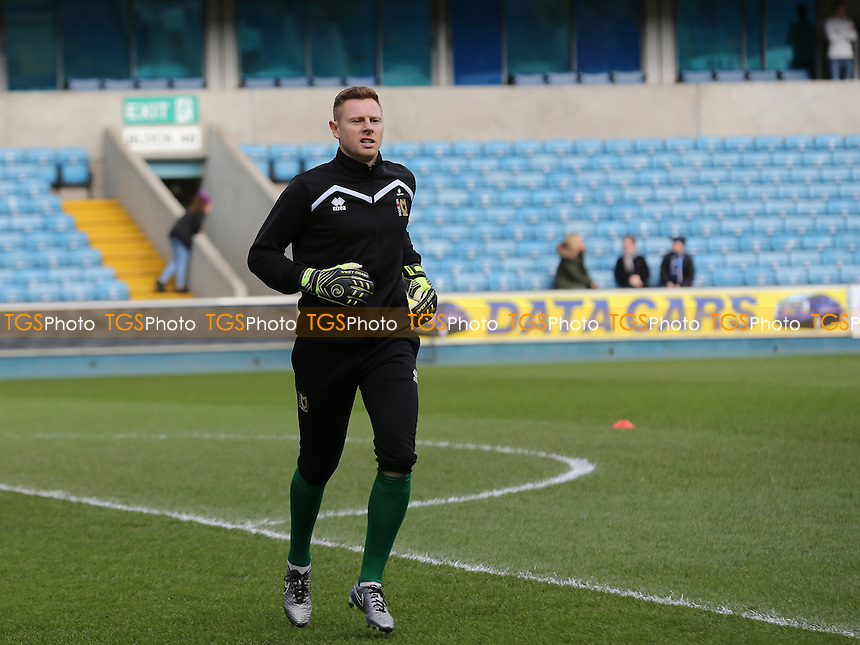 MK Dons goalkeeper, David Martin warms up pre-match during Millwall vs MK Dons, Sky Bet EFL League 1 Football at The Den on 4th March 2017