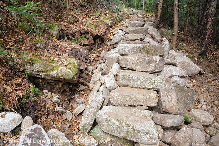 October 2011 - Newly built stone staircase along the Mt Tecumseh Trail in the New Hampshire White Mountains. The two large holes on the left-hand side of the trail work were left as is. And over the years this section has had erosion issues. See how this section looked 9 months later here: http://bit.ly/1qY9GZY