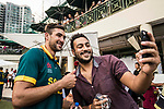 A fan takes a selfie with Corne Dry of South Africa after the team winning Hong Kong Cricket World Sixes 2017 Cup final match between Pakistan vs South Africa at Kowloon Cricket Club on 29 October 2017, in Hong Kong, China. Photo by Yu Chun Christopher Wong / Power Sport Images