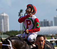 HALLANDALE BEACH, FL - JANUARY 27: Luis Saez, aboard Tommy Macho #8, celebrates winning the Fred W. Hopper Stakes on Pegasus World Cup Invitational Day at Gulfstream Park Race Track on January 27, 2018 in Hallandale Beach, Florida. (Photo by Liz Lamont/Eclipse Sportswire/Getty Images)