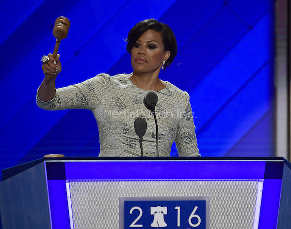 Mayor Stephanie Rawlings-Blake (Democrat of Baltimore, Maryland) calls the 2016 Democratic National Convention to order at the Wells Fargo Center in Philadelphia, Pennsylvania on Monday, July 25, 2016.  Mayor Blake had to return to the podium because she forgot to bang the gavel.<br /> Credit: Ron Sachs / CNP/MediaPunch<br /> (RESTRICTION: NO New York or New Jersey Newspapers or newspapers within a 75 mile radius of New York City)