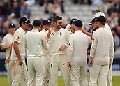 7th September 2017, Lords Cricket Ground, London, England; International Test Match Series, Third Test, Day 1; England versus West Indies; England Bowler James Anderson smiles with team mates, after claiming his 499th test wicket, the wicket of West Indies Kyle Hope