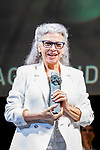 Kiti Manver shows 'Biznaga Ciudad del Paraiso Award' during Malaga Film Festival Gala at Teatro Cervantes.August 24 2020. (Alterphotos/Francis González)