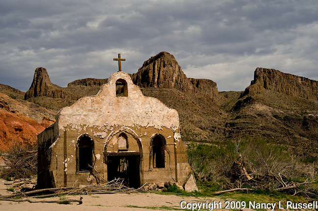 Old abandoned church along the Rio Grande River at the Contrabando movie site near the USA and Mexican border
