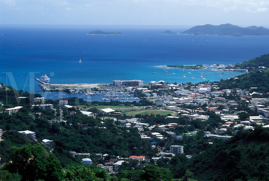 Tortola, Road Town, British Virgin Islands, Road Bay, Caribbean, BVI, Scenic view of Road Town on the island of Tortola on the Caribbean Sea.