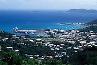 Tortola, Road Town, British Virgin Islands, Road Bay, Caribbean, BVI, Scenic view of Road Town on the island of Tortola on the Caribbean Sea.