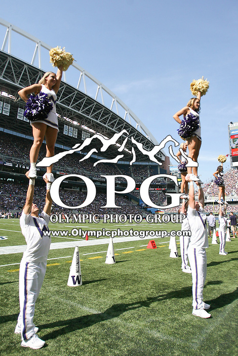 Sept 15, 2012:  Washington cheerleaders entertained fans during the game against Portland State.  Washington defeated Portland State 52-13 at CenturyLink Field in Seattle, Washington...