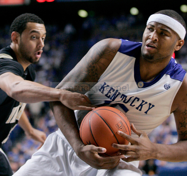 Freshman forward DeMarcus Cousins fights for the ball during the second half of the game against Vanderbilt at Rupp Arena on Saturday. Photo by Zach Brake | Staff.