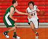 Vincent Battaglia #21 of Island Trees, right, gets pressured by Andrew Pich #11 of Seaford during a Nassau County arsity boys' basketball game at Island Trees High School on Wednesday, Jan. 13, 2016. Battaglia scored 16 points to lead Island Trees to a 63-48 win.