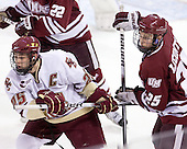 Matt Price (BC - 25), Michael Lecomte (UMass - 25) - The Boston College Eagles defeated the University of Massachusetts-Amherst Minutemen 2-1 (OT) on Friday, February 26, 2010, at Conte Forum in Chestnut Hill, Massachusetts.