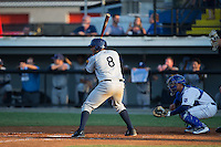 Rafelin Lorenzo (8) of the Princeton Rays at bat against the Burlington Royals at Burlington Athletic Stadium on June 24, 2016 in Burlington, North Carolina.  The Rays defeated the Royals 16-2.  (Brian Westerholt/Four Seam Images)