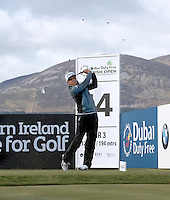 Thursday 28 May 2015; Rickie Fowler, USA, tees up at the 14th<br /> <br /> Dubai Duty Free Irish Open Golf Championship 2015, Round 1 County Down Golf Club, Co. Down. Picture credit: John Dickson / SPORTSFILE