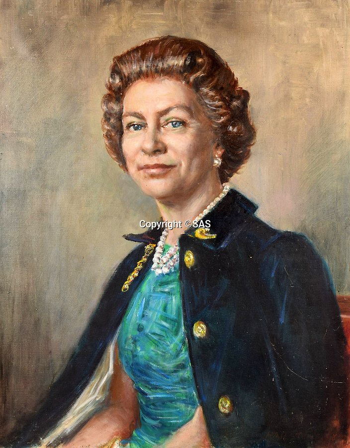 BNPS.co.uk (01202 558833)<br /> Pic: SAS/BNPS<br /> <br /> Completed painting of Queen Elizabeth from 1977.<br /> <br /> An amazing 30 year old time capsule of Royal artworks have been found gathering dust in a dilapidated estate near Tonbridge in Kent.<br /> <br /> They form part of a remarkable collection of 400 works by the almost forgotten painter Bernard Hailstone, that have been locked away in his abandoned studio at Hadlow Tower since his death in 1987.<br /> <br /> Amongst the famous figures who sat for Mr Hailstone, who died in 1987, were the Queen, the Queen Mother, Prince Charles, Winston Churchill, former US president Jimmy Carter and actor Laurence Olivier.<br /> <br /> While sitting for her portrait at Buckingham Palace, The Queen asked him to adjust the aerial so she could watch the horse racing on the TV.<br /> <br /> The then US president Jimmy Carter was sketched by Mr Hailstone during a flight from London to New York, while Mr Hailstone and Winston Churchill discussed aliens during their sitting at Chartwell.