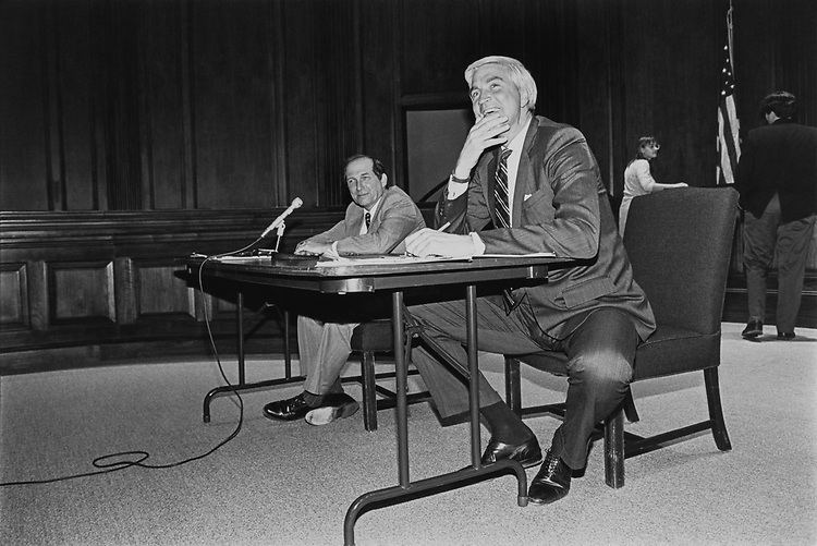 Rep. Tom McMillen, D-Md. and Rep. Wayne Gilchrest, R-Md. during a debate in Annapolis in Oct., 1992. (Photo by Maureen Keating/CQ Roll Call)