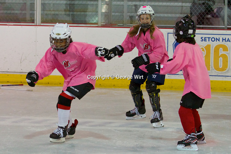 """New Jersey Devils Youth Hockey Club conducts free """"Learn to Play"""" Clinics as part of its Girls Ice Hockey Program."""