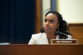 United States Representative Ayanna Pressley (Democrat of Massachusetts) questions Chair of the Federal Reserve Jerome Powell during his testimony before the House Financial Services Committee on Capitol Hill in Washington D.C., U.S. on July 10, 2019.<br /> <br /> Credit: Stefani Reynolds / CNP