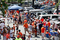 Virginia  fans tailgate during the first half of the game in Charlottesville, Va. Virginia defeated Brigham Young 19-16. Photo/Andrew Shurtleff