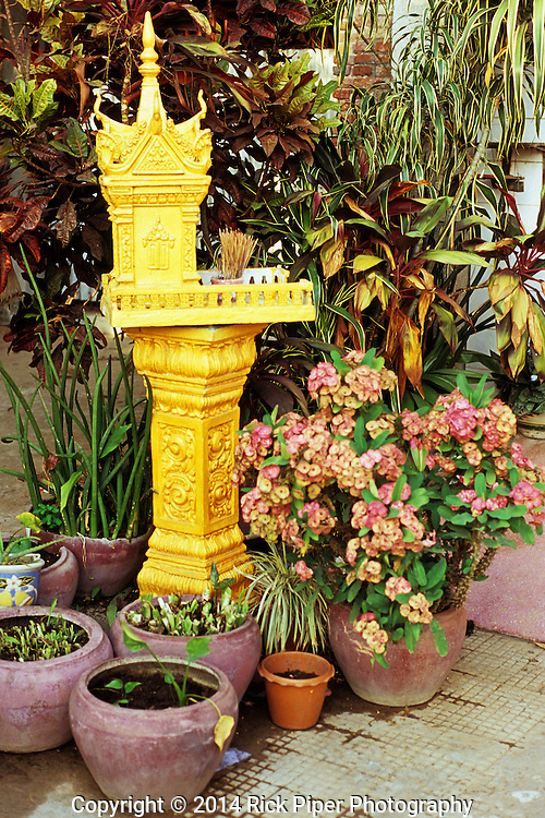 Brightly painted gold altar shrine surrounded by potted plants, Kampot, Cambodia.
