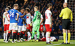 25.10.18 Rangers v Spartak Moscow: Alfredo Morelos booked on the say so of the additional ref