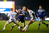 Tom Homer of Bath Rugby takes on the Gloucester Rugby defence. Premiership Rugby Cup match, between Bath Rugby and Gloucester Rugby on February 3, 2019 at the Recreation Ground in Bath, England. Photo by: Patrick Khachfe / Onside Images