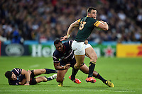 Jesse Kriel of South Africa takes on the USA defence. Rugby World Cup Pool B match between South Africa and the USA on October 7, 2015 at The Stadium, Queen Elizabeth Olympic Park in London, England. Photo by: Patrick Khachfe / Onside Images