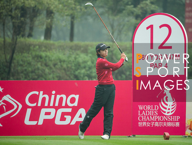 Hyeon Seo Kang of South Korea tees off at the 13th hole during Round 4 of the World Ladies Championship 2016 on 13 March 2016 at Mission Hills Olazabal Golf Course in Dongguan, China. Photo by Victor Fraile / Power Sport Images