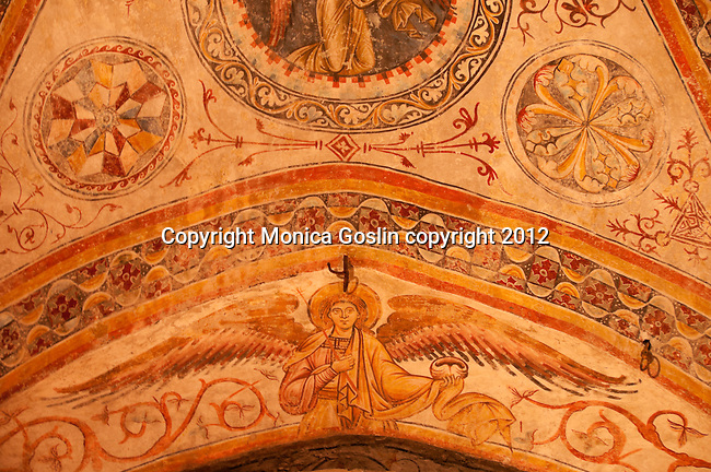 Frescos in the Old Cathedral on Piazza del Duomo in Brescia, Italy. The Old Cathedral is a small round building, built between the 11 and 12 centuries