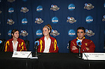 08 December 2007: Ashli Sandoval (l), Ashley Nick (center), and head coach Ali Khosroshahin (r). The University of Southern California Trojans held a press conference at the Aggie Soccer Stadium in College Station, Texas one day before playing in the NCAA Division I Womens College Cup championship game.