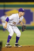 LSU Tigers shortstop Alex Bregman #30 on defense against the Auburn Tigers in the NCAA baseball game on March 22nd, 2013 at Alex Box Stadium in Baton Rouge, Louisiana. LSU defeated Auburn 9-4. (Andrew Woolley/Four Seam Images).