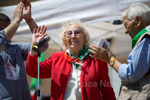 """Iole Mancini (Antifascist Partizan. Member of the Partigiani: the Italian Resistance during WWII) <br /> <br /> Rome, 25/04/2018. Today, to mark the 73rd Anniversary of the Italian Liberation from nazi-fascism ('Liberazione'), ANED Roma & ANPI Roma (National Association of Italian Partizans) held a march ('Corteo') from Garbatella to Piazzale Ostiense where a rally took place attended by Partizans, Veterans and politicians – including the Mayor of Rome and the President of Lazio's Region. FOR THE FULL CAPTIONS PLEASE CHECK """"Photo Stories - 2010 to Today"""" 25.04.2018."""