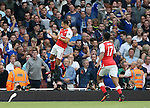 Arsenal's Alexis Sanchez celebrates scoring his sides opening goal during the Premier League match at the Emirates Stadium, London. Picture date September 24th, 2016 Pic David Klein/Sportimage