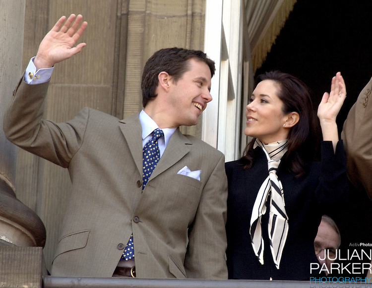 Crown Prince Frederik & Mary Donaldson appear on the balcony of The Amalienborg Palace in Copenhagen to celebrate The Queen of Denmark's 64th birthday..