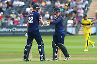 Paul Walter and Simon Harmer of Essex bump gloves during Gloucestershire vs Essex Eagles, NatWest T20 Blast Cricket at The Brightside Ground on 13th August 2017