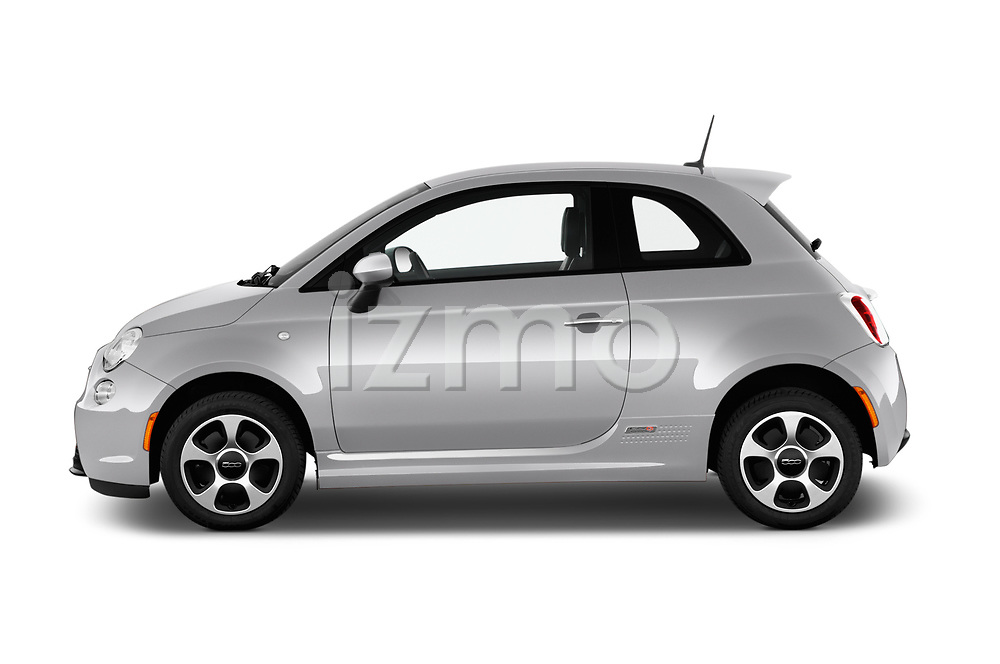 Car Driver side profile view of a 2017 Fiat 500e Battery-Electric 5 Door Hatchback Side View