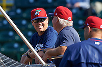 Fort Myers Miracle trainer Alan Rail (left) talks with hitting coach Jim Dwyer (26) during practice before a game against the Bradenton Marauders on April 9, 2016 at McKechnie Field in Bradenton, Florida.  Fort Myers defeated Bradenton 5-1.  (Mike Janes/Four Seam Images)