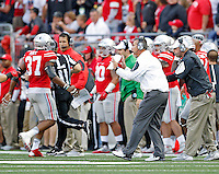 Ohio State Buckeyes head coach Urban Meyer yells at this special teams against Northern Illinois Huskies in the 4th quarter of their game at Ohio Stadium on September 19, 2015.  (Dispatch photo by Kyle Robertson)